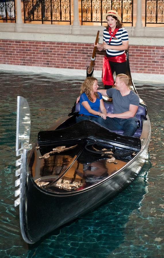 Sarah Colonna and Jon Ryan enjoy a romantic gondola ride at The Venetian Las Vegas