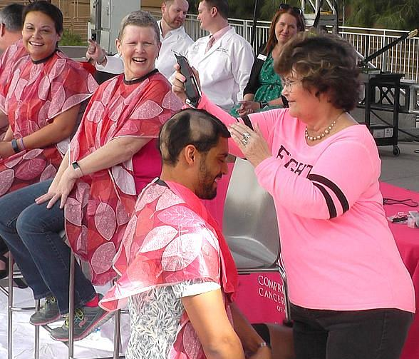 Vegas Golden Knights' Bellemare Shaves Head with Breast Cancer Patients fromComprehensive Cancer Centers
