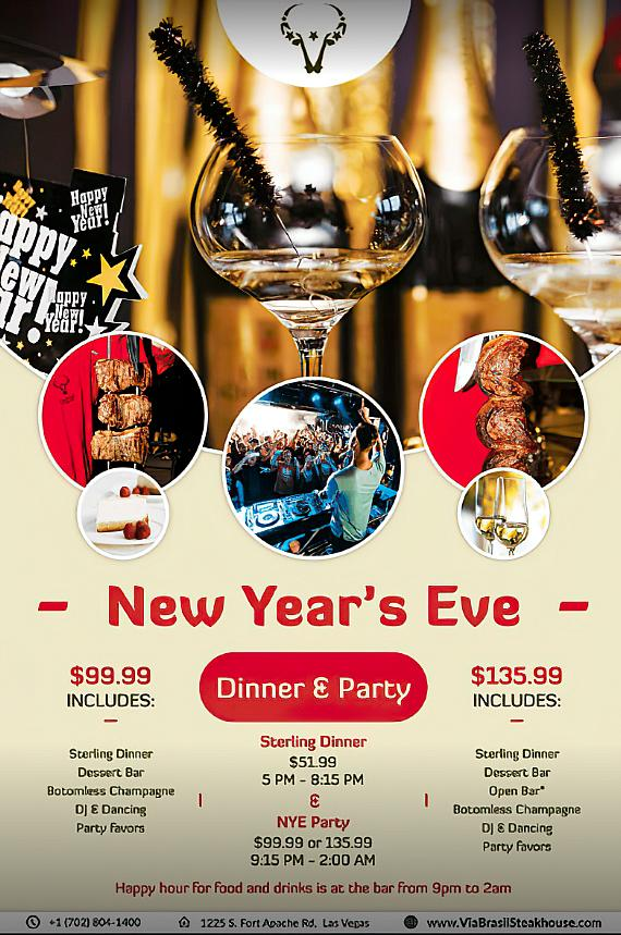 Celebrate NYE and New Years Day in Summerlin at Via Brasil Steakhouse, Farmtable Kitchen + Spirits, Kona Grill, Marche Bacchus and Lola's