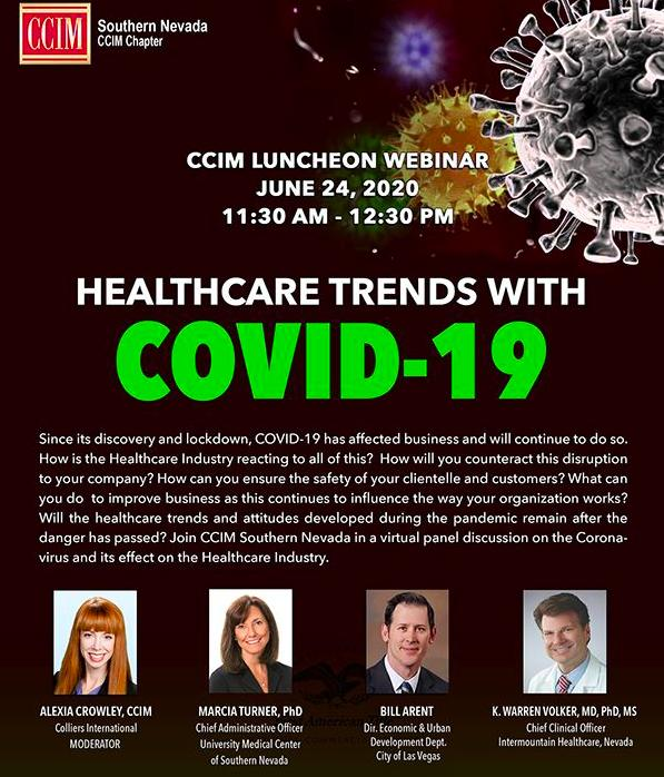 CCIM Southern Nevada Announces Healthcare Trends with COVID-19, June 24 at 11:30a.m - 12:30p.m