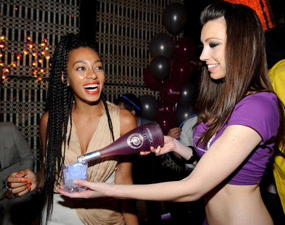 Solange Knowles being poured Hpnotic Harmonie at LAVO