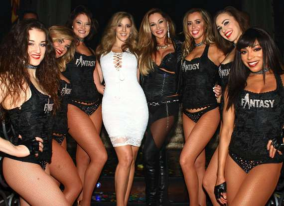 Miss February 2016 Playboy South Africa Soolin DeMaria (center) with cast members of FANTASY  at LAX Nighclub in Luxor Hotel & Casino