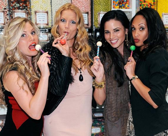 Spartacus starlettes pose with Signature Sugar Factory Couture Pops inside Sugar Factory Retail Store