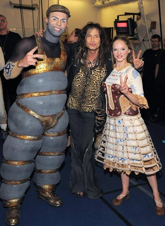Steven Tyler with cast of The Beatles LOVE by Cirque du Soleil