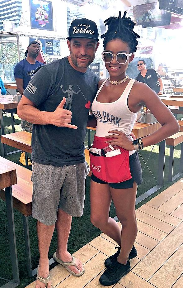 TV Hosts T.J. Lavin and Ricky Smith and former NBA star Jerry Stackhouse Spotted on Sunday at Beer Park at Paris Las Vegas