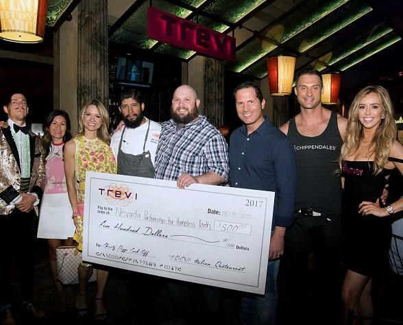 """Local Performers Mariah Nieslanik Rivera (""""Fantasy""""), James Davis (""""Chippendales"""") and The Gazillionaire (""""Absinthe"""") Judge Charity Pizza Contest at Trevi in Las Vegas"""