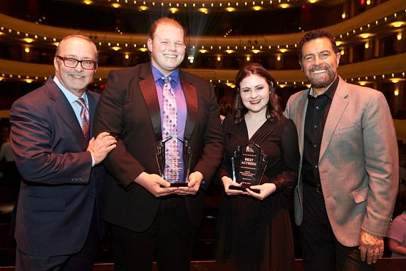 Myron Martin, CEO and President of The Smith Center for the Performing Arts, Best Actor winner Nathan Sink, Best Actress winner Adelynn Tourondel, and Las Vegas headliner Clint Holmes, who emceed the event with Martin
