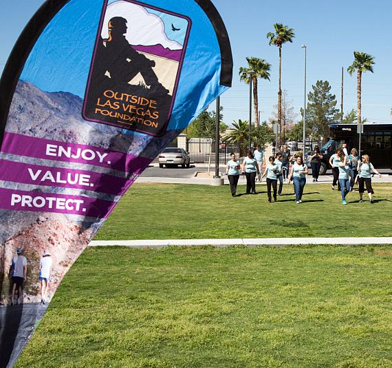 Team members from The Venetian and The Palazzo arrive at Freedom Park for an Earth Day event with Outside Las Vegas Foundation