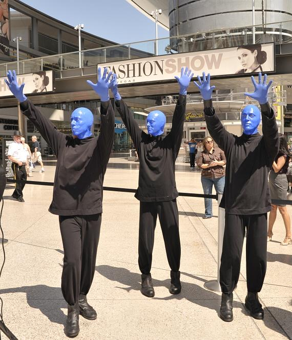 The Blue Men strike their signature pose