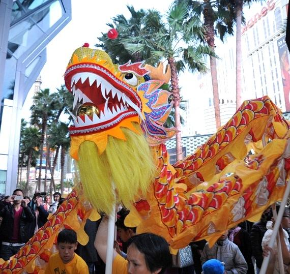 The dragon at The Cosmopolitan's Chinese New Year Celebration