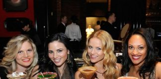 The leading ladies of Spartacus sip on Signature Sugar Factory Martinis at Sugar Factory American Brasserie