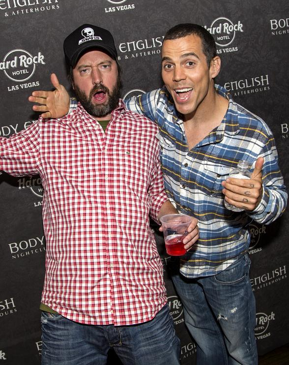 Tom Green and Steve O hang out at Juicy Vegas After Dark at Body English Nightclub & Afterhours in Hard Rock Hotel & Casino
