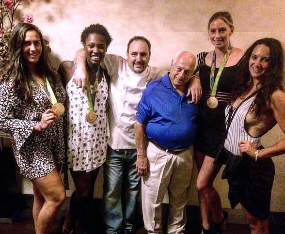 """Thomas """"Tommy"""" Lasorda Dines at N9NE Steakhouse with 2016 Women's USA Olympic Water Polo Team at Palms Casino Resort"""