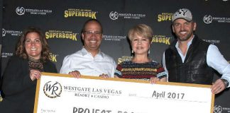 Dancing with the Stars' Tony Dovolani presents Celebrity Bracket Challenge winner Pia Zadora with check for charity at Westgate Las Vegas Resort & Casino