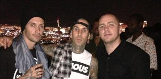 Travis Barker enjoys view of famed Las Vegas Strip below from Ghostbar's patio