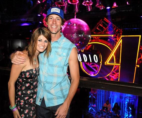Travis Pastrana and Lyn-Z Adams Hawkins at Nitro Circus after-party, Studio 54 Las Vegas