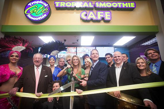 Tropical Smoothie ribbon cutting at Excalibur Hotel Casino's Castle Walk Food Court