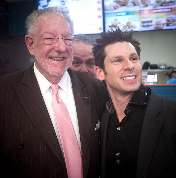Oscar Goodman with comedy magician and Four Queens headliner Mike Hammer