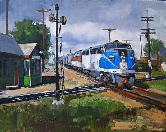 2nd Place – Line' Tutwiler, Crossing the Diamond, oil, 11″ x 14″