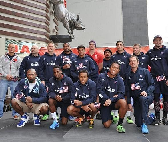 USA Eagles pose on stage outside PBR Rock Bar at Miracle Mile Shops