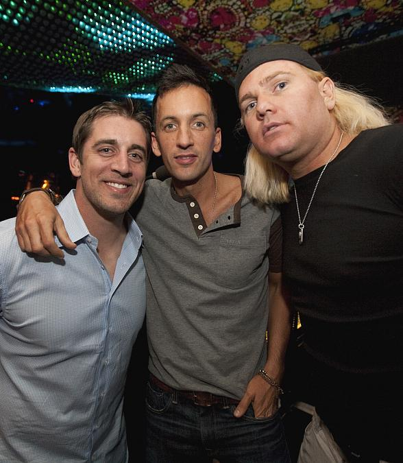 Aaron Rodgers, DJ Clinton Sparks and friend