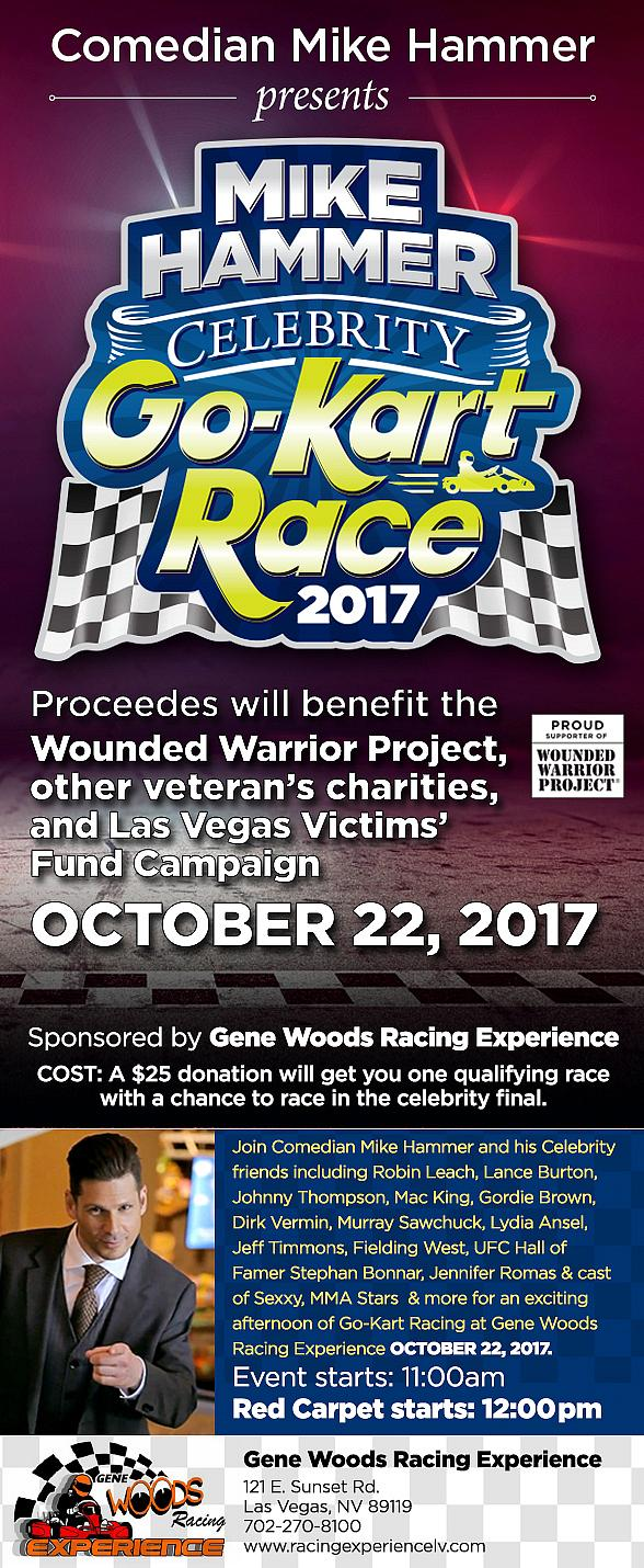"""Comedian Mike Hammer presents the 2nd Annual """"Mike Hammer Celebrity Go-Kart Race"""" to Serve the Less Fortunate Oct. 16"""