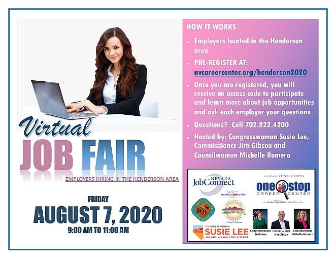 Congresswoman Susie Lee, Commissioner Jim Gibson and Councilwoman Michelle Romero Partner With State and Local Workforce Agencies to Host Virtual Job Fair on Aug. 7