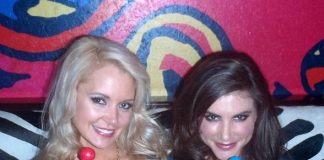 Stacy Fuson (left) and Alison Waite (right) with Sugar Factory Couture Pops at Cabo Wabo Cantina