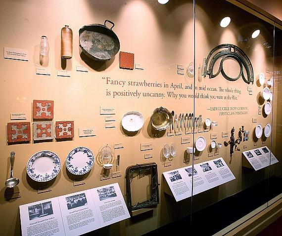 """Wall of Serving Utensils, Dishes, Tiles at """"Titanic the Artifact Exhibition"""" at Luxor Hotel & Casino"""