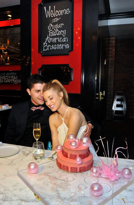Whitney Port and boyfriend Ben Nemtin with her birthday cake at Sugar Factory American Brasserie