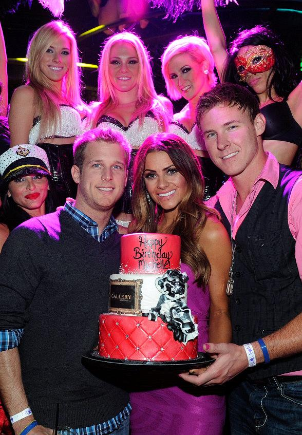 William Holman, Kasey Kahl join Michelle Money as the Pussycat Dolls present her with a birthday cake at Gallery Nightclub