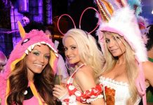 Holly Madison, Angel Porrino and friend at XS Ghosts N Stuff Halloween Bash