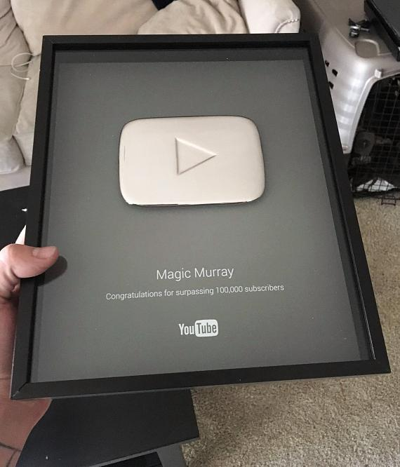 MURRAY Recieves his 100,000 Youtube Subscriber Award from YouTube