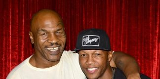 """Five-Time World Boxing Champ Zab Judah and hip-hop legend Eric B attend """"Mike Tyson Undisputed Truth"""" at MGM Grand in Las Vegas"""