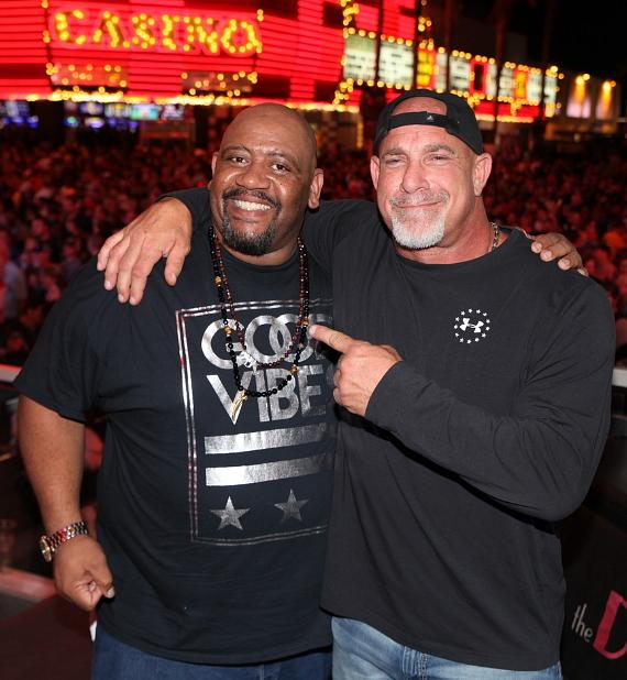 Actor Bubba Ganter with Bill Goldberg at The D Casino Hotel Las Vegas