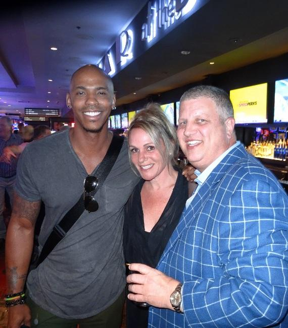 Actor Mehcad Brooks at the LONGBAR with the D Las Vegas owner Derek Stevens and wife Nicole Parthum