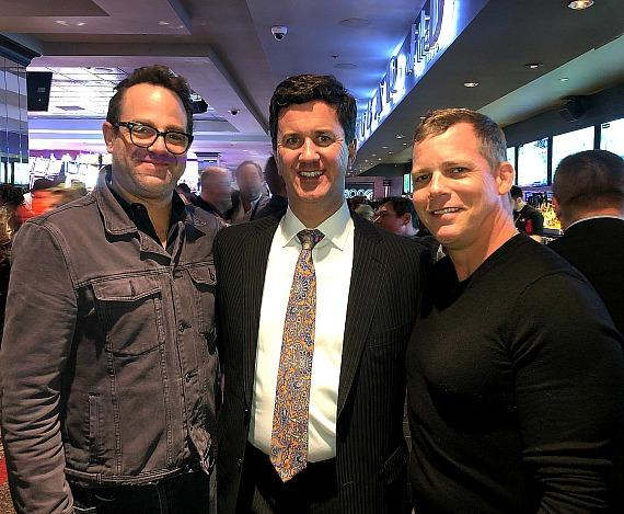 Paul Adelstein, Casino Owner Greg Stevens and Tim Griffin at the D Las Vegas