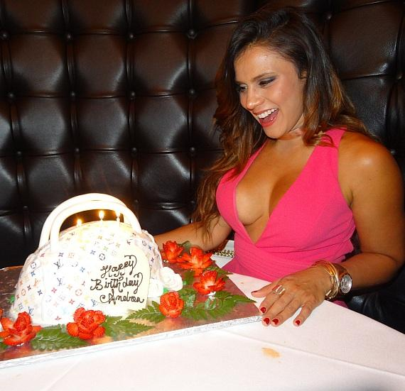 Andrea Rincon with Birthday Cake at Andiamo Italian Steakhouse at the D Casino Hotel in Las Vegas