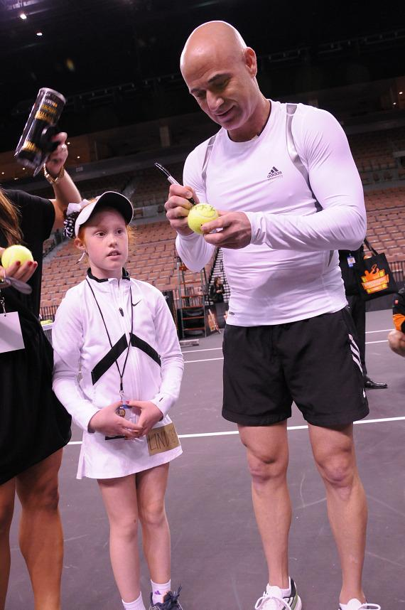 Andre Agassi signs autographs at the 2012 PowerShares Series in Las Vegas