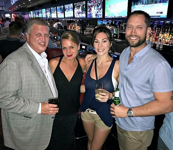 "Owner Derek Stevens and his wife Nicole with Briane Alise and ""The Bachelor"" David Good at The D Las Vegas"