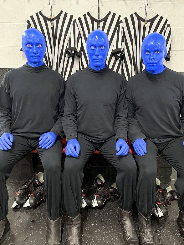 Blue Man Group Serves as Referees During Coast X Coast Charity Hockey Game