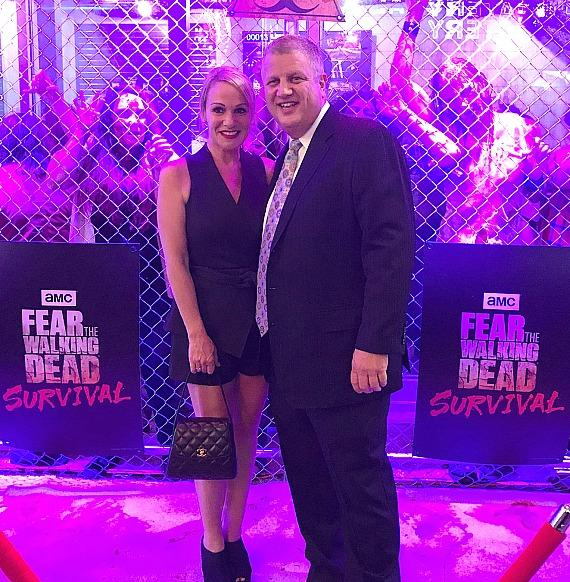 """Casino Owner Derek Stevens with wife Nicole Parthum at """"Fear The Walking Dead: Survival"""" attraction on Fremont Street Experience Las Vegas"""
