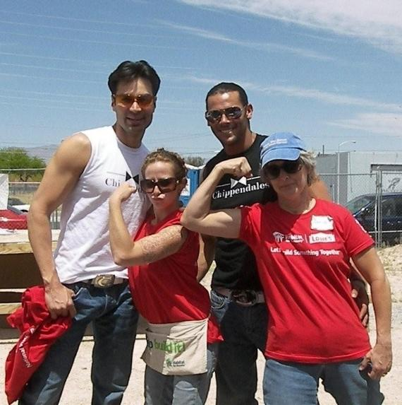 Chippendales Juan DeAngelo and Jace Crispin attend Habitat for Humanity's Women Build event