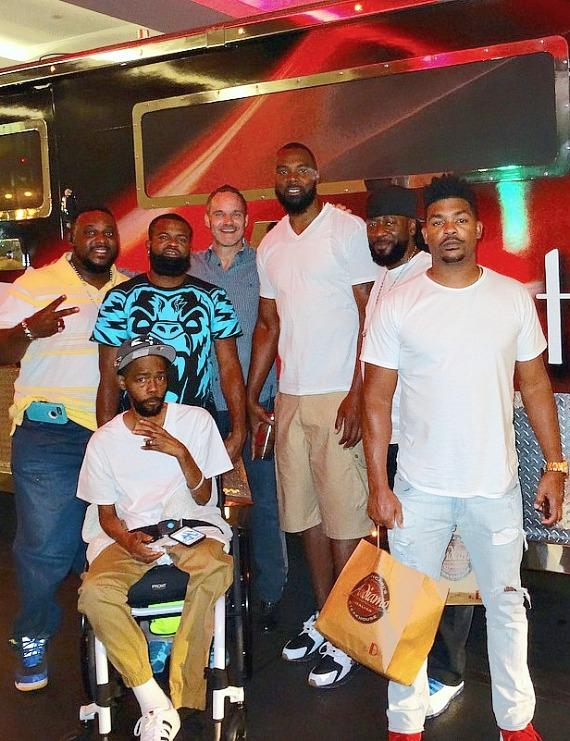 Former NBA player Chris Wilcox with family and friends at the D Casino Hotel Armored Truck Limo