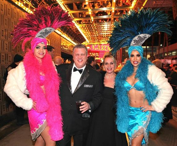 The D Casino owner Derek Stevens and wife Nicole party on New Years Eve with Vegas Showgirls