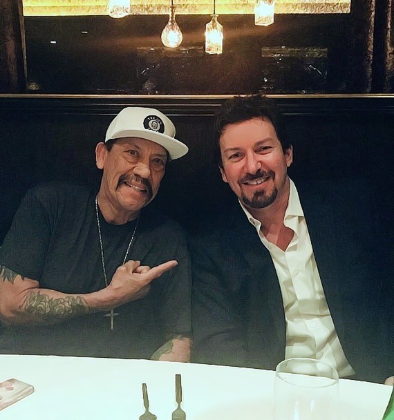 Actor Danny Trejo with D exectutive Richard Wilk at Andiamo Steakhouse in the D Casino Hotel Las Vegas