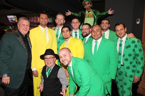 Derek Stevens and the D staff with Shorty Rossi at the D Las Vegas Longbar on St. Patrick's Day