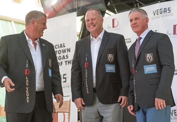 Derek Stevens with Gerard Gallant and Kelly Bubolz of Vegas Golden Knights at the D Las Vegas
