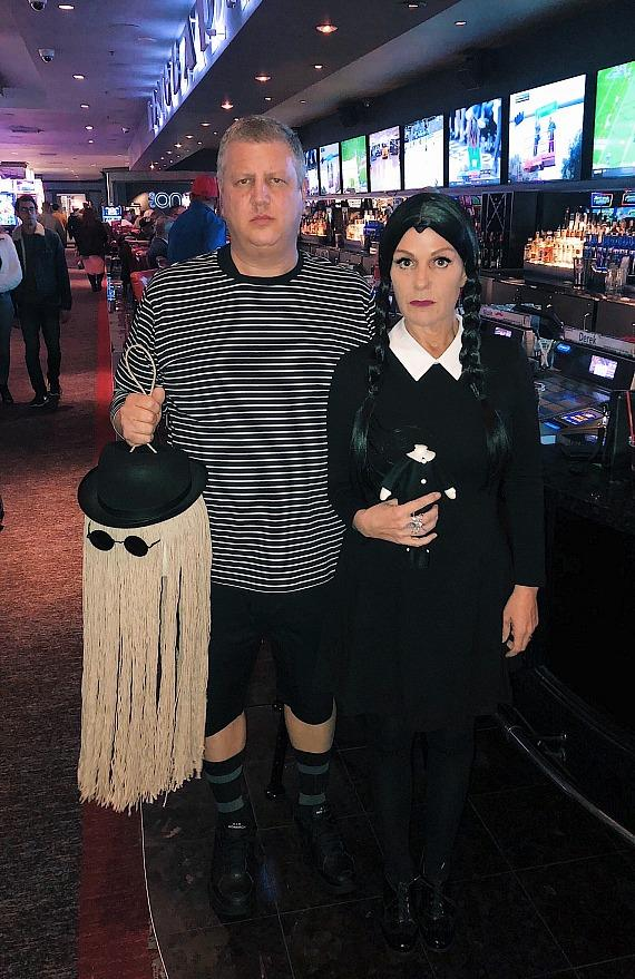 Derek Stevens and wife Nicole in Addams Family Costumes on Halloween at the D Las Vegas
