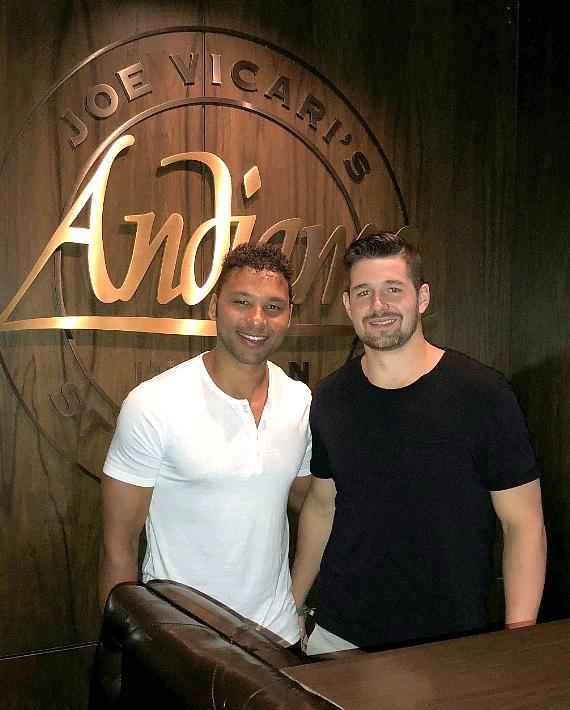 Detroit Red Wings players Trevor Daley and Xavier Ouellet at Andiamo Italian Steakhouse in the D Las Vegas